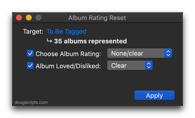 Album Rating Reset in action