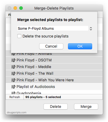 Merge-Delete Playlists in action