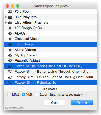 Batch Export Playlists in action