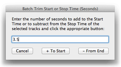 Batch Trim Start or Stop Time (Seconds)