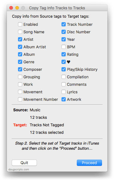 Copy Tag Info Tracks to Tracks in action