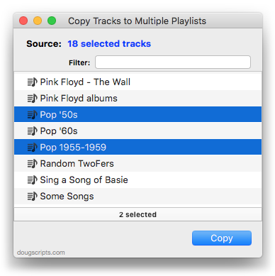 Copy Tracks to Multiple Playlists