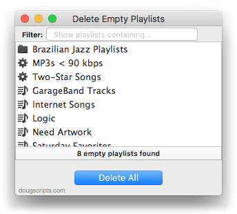 Delete Empty Playlists in action