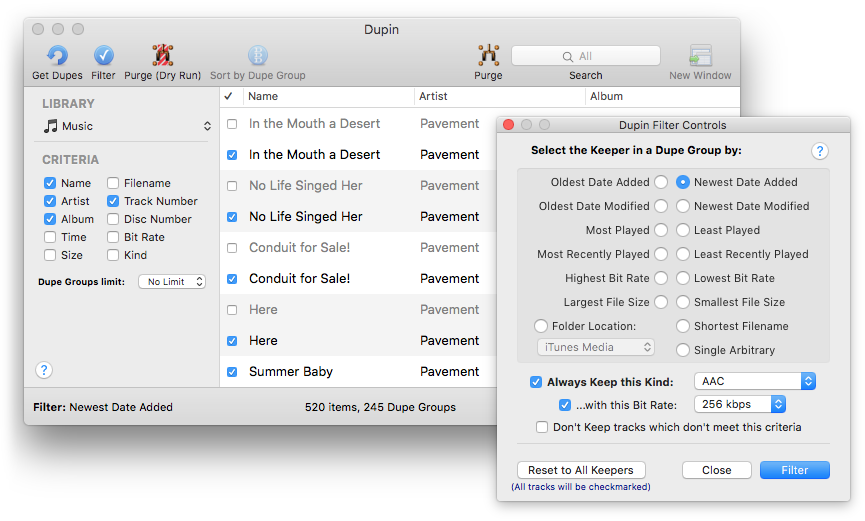 Doug's Apps for iTunes » Dupin - iTunes Duplicates Manager