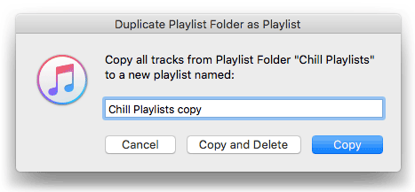 Duplicate Playlist Folder as Playlist