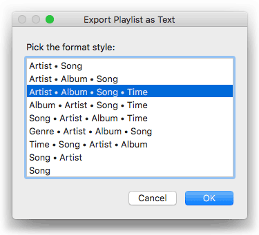 Export Playlist As Text in action