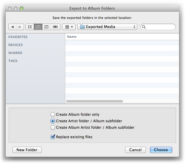 Export to Album Folders
