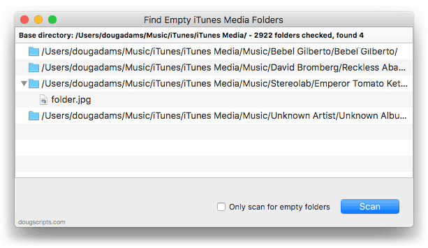 Find Empty iTunes Media Folders