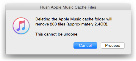 Flush Apple Music Cache Files in action