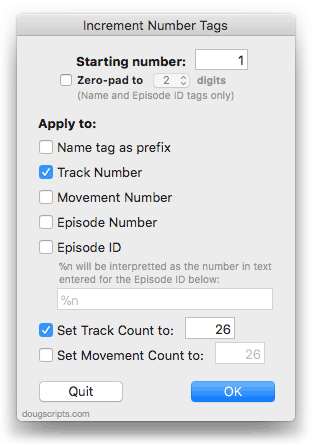 Increment Number Tags in action