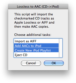 Lossless to AAC Workflow in action