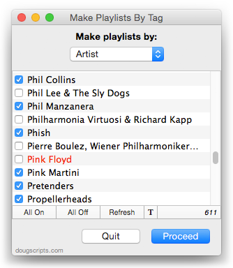 Make Playlists By Tag in action