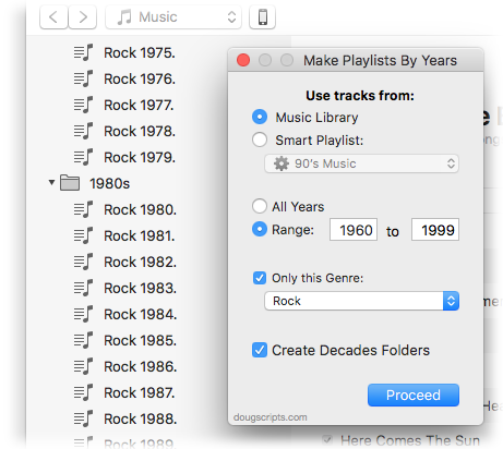 Make Playlists By Years in action