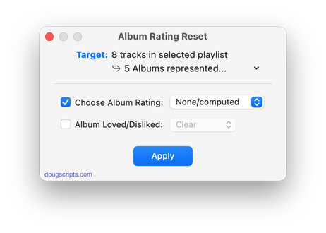 Album Rating Reset in action