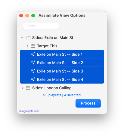 Assimilate View Options in action