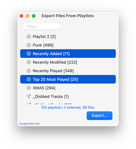 Export Files From Playlists in action