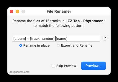 File Renamer in action