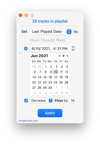 New Last Played Date in action