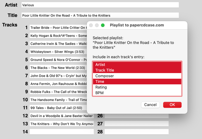 Playlist to papercdcase.com in action