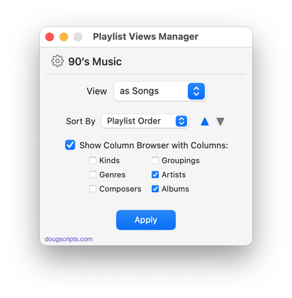 Playlist Views Manager in action