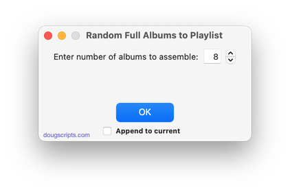 Random Full Albums to Playlist in action