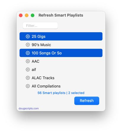 Refresh Smart Playlists in action