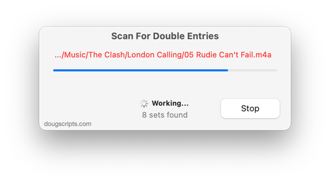 Scan For Double Entries in action