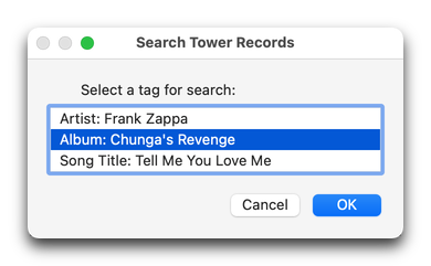 Search Tower Records in action