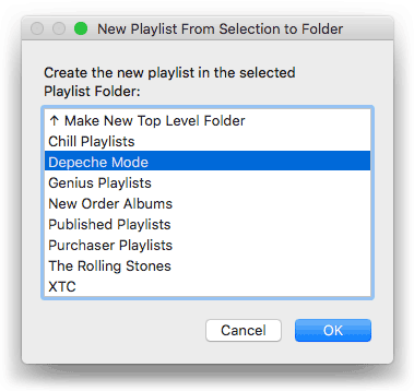 New Playlist from Selection to Folder in action