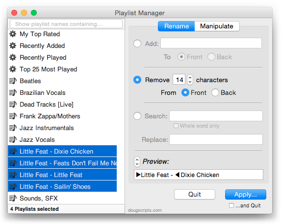 Playlist Manager in action