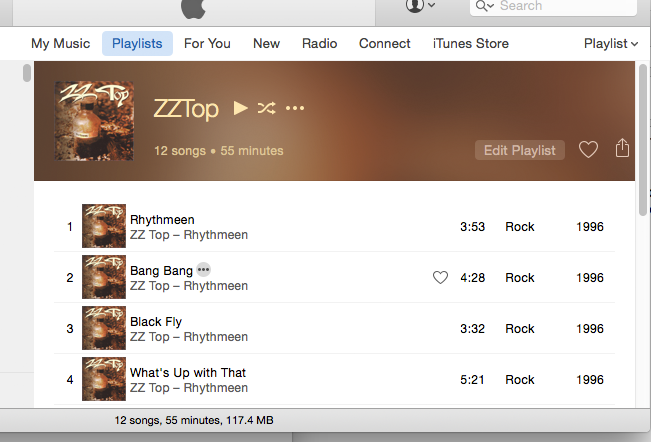 Playlist in playlist view