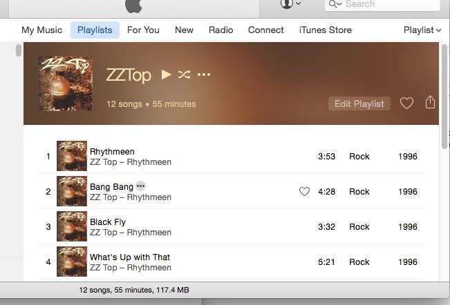 Playlist in playlist view