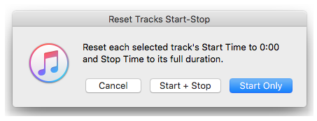 Reset Tracks Start-Stop in action