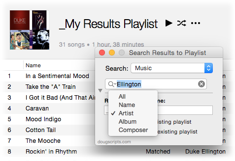 Search Results to Playlist in action