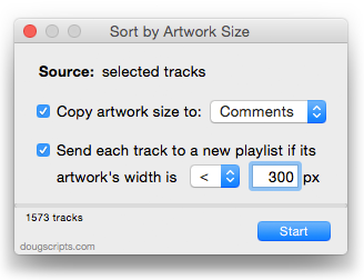 Sort by Artwork Size in action