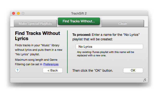 Find Tracks Without Lyrics